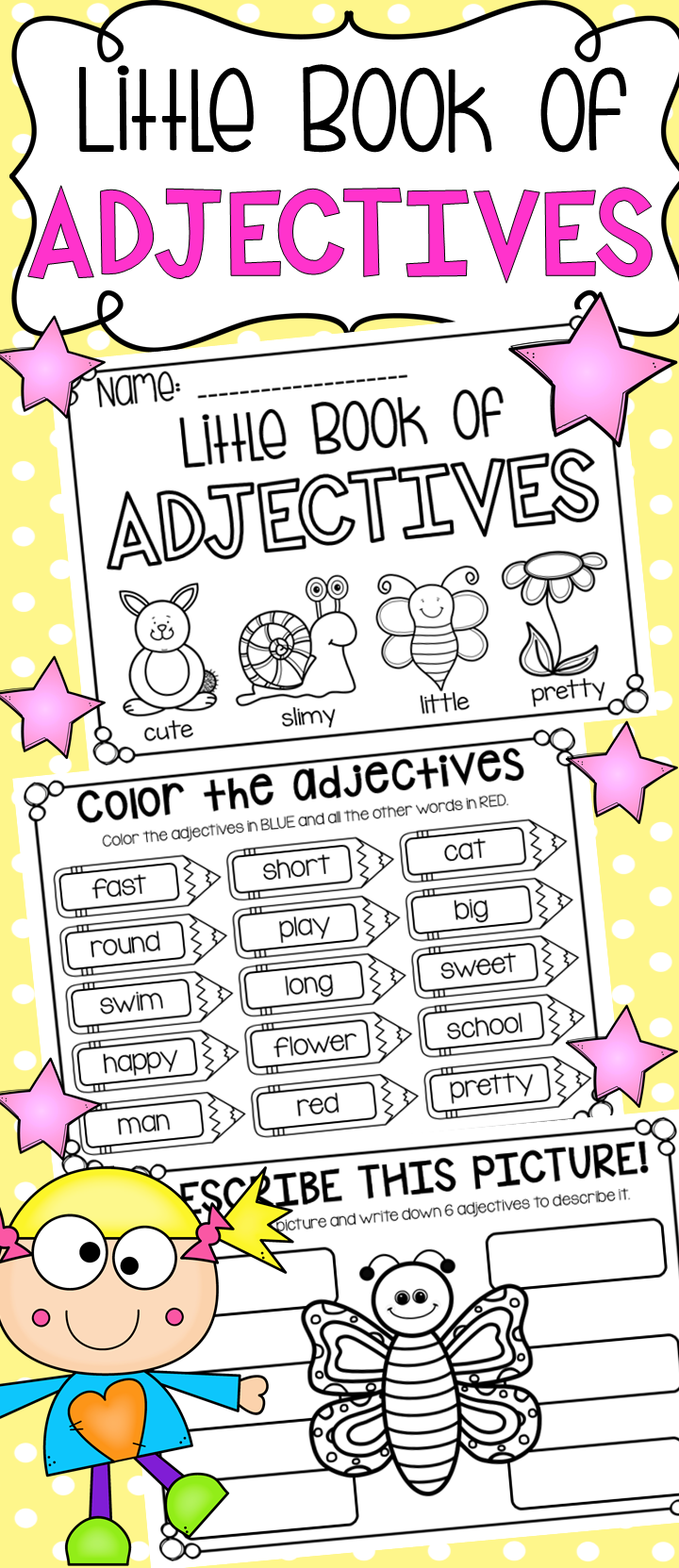 Little Book of Adjectives - Printable Booklet with Worksheets for  Kindergarten [ 1663 x 720 Pixel ]