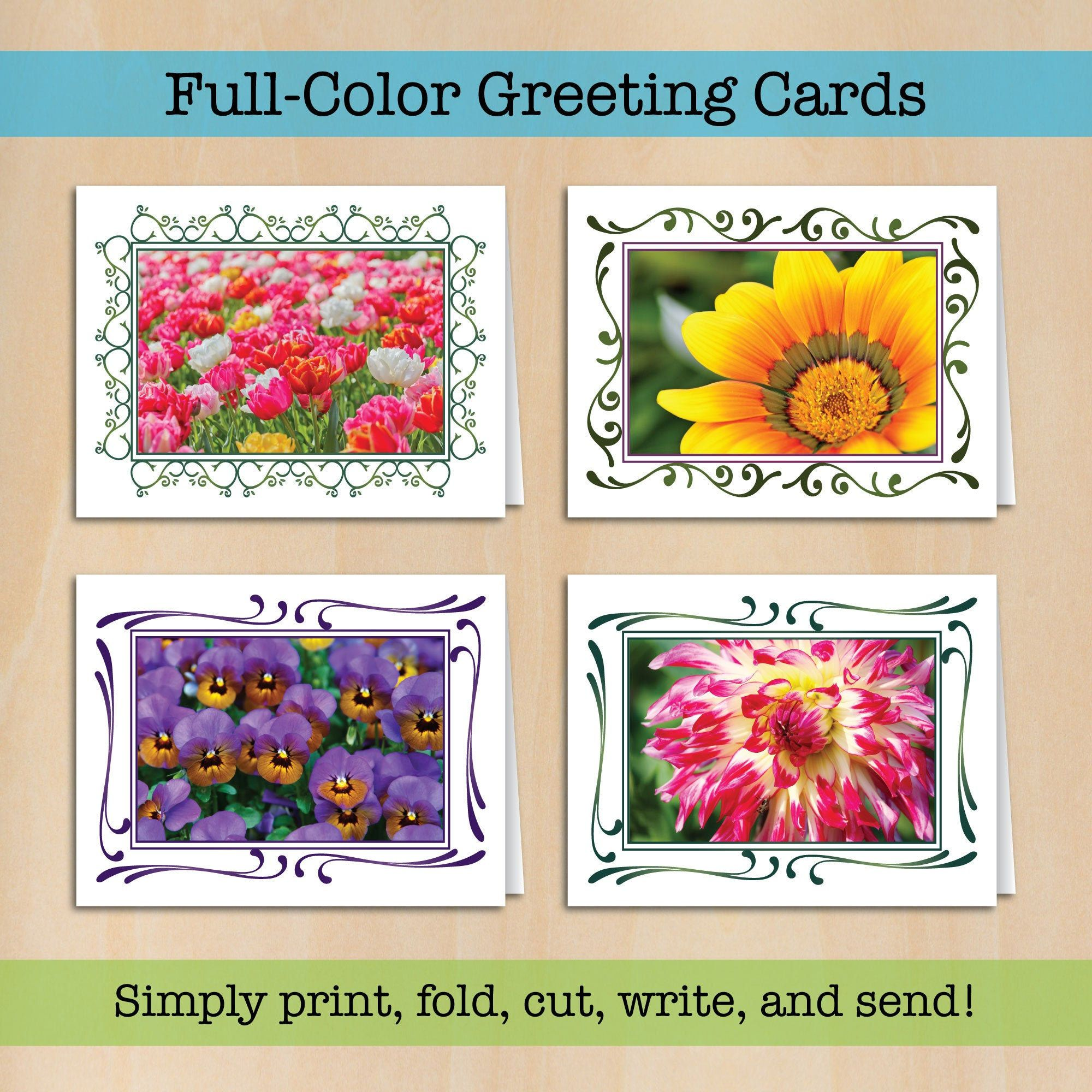 Beautiful Flower Greeting Cards Set Of 4 Printable Pdf Cards