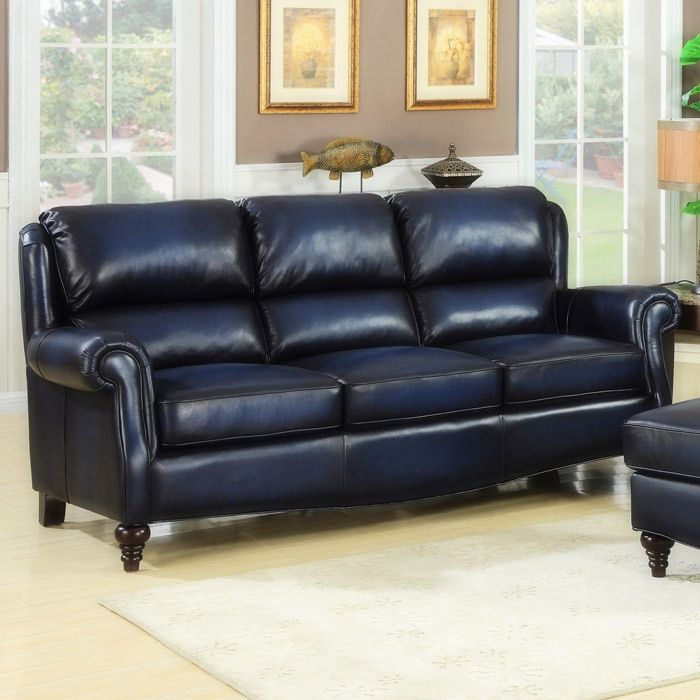 Dark Blue Leather! | Living Room Ideas in 2019 | Blue leather sofa ...