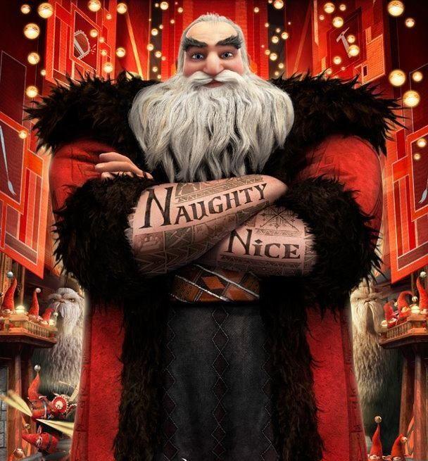 Tattooed Santa Kerstman Film Bontkragen