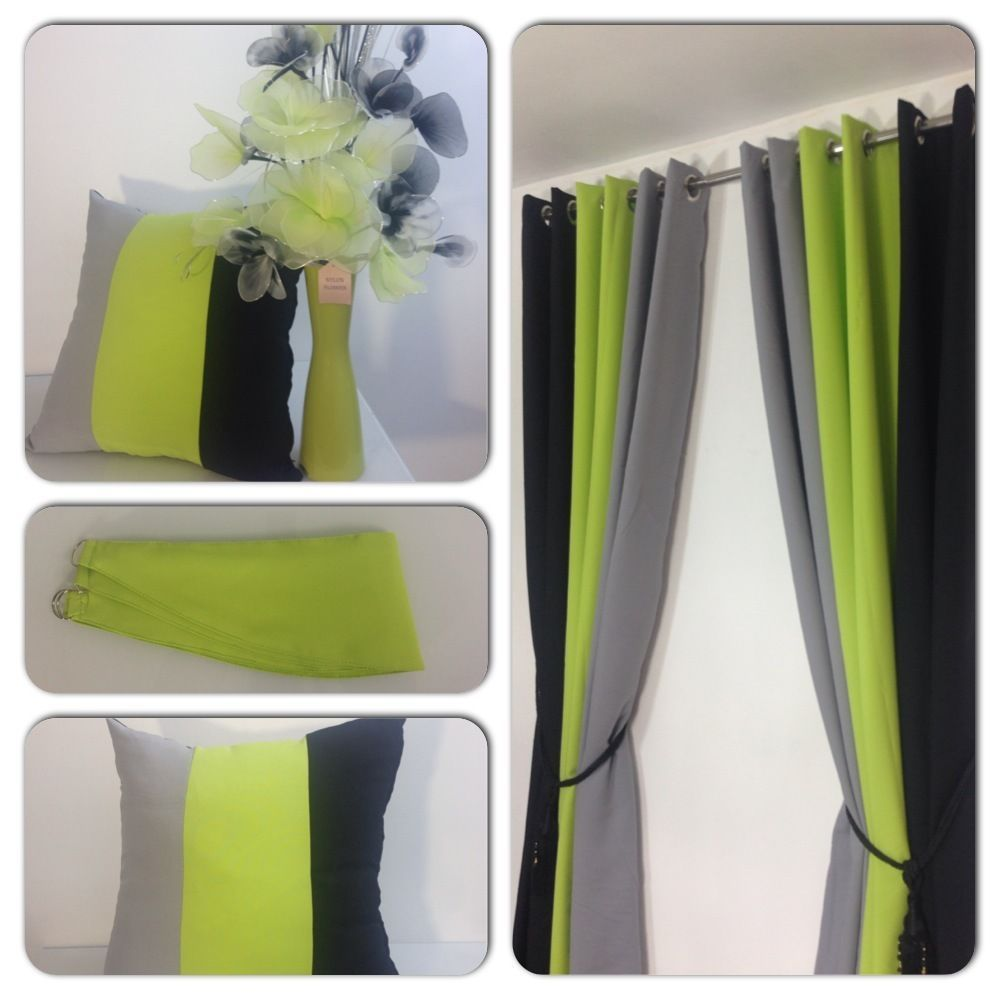 Green bedroom curtains - Details About Eyelet Curtains Ring Top Fully Lined Pair Ready Made 3 Tone Lime Green