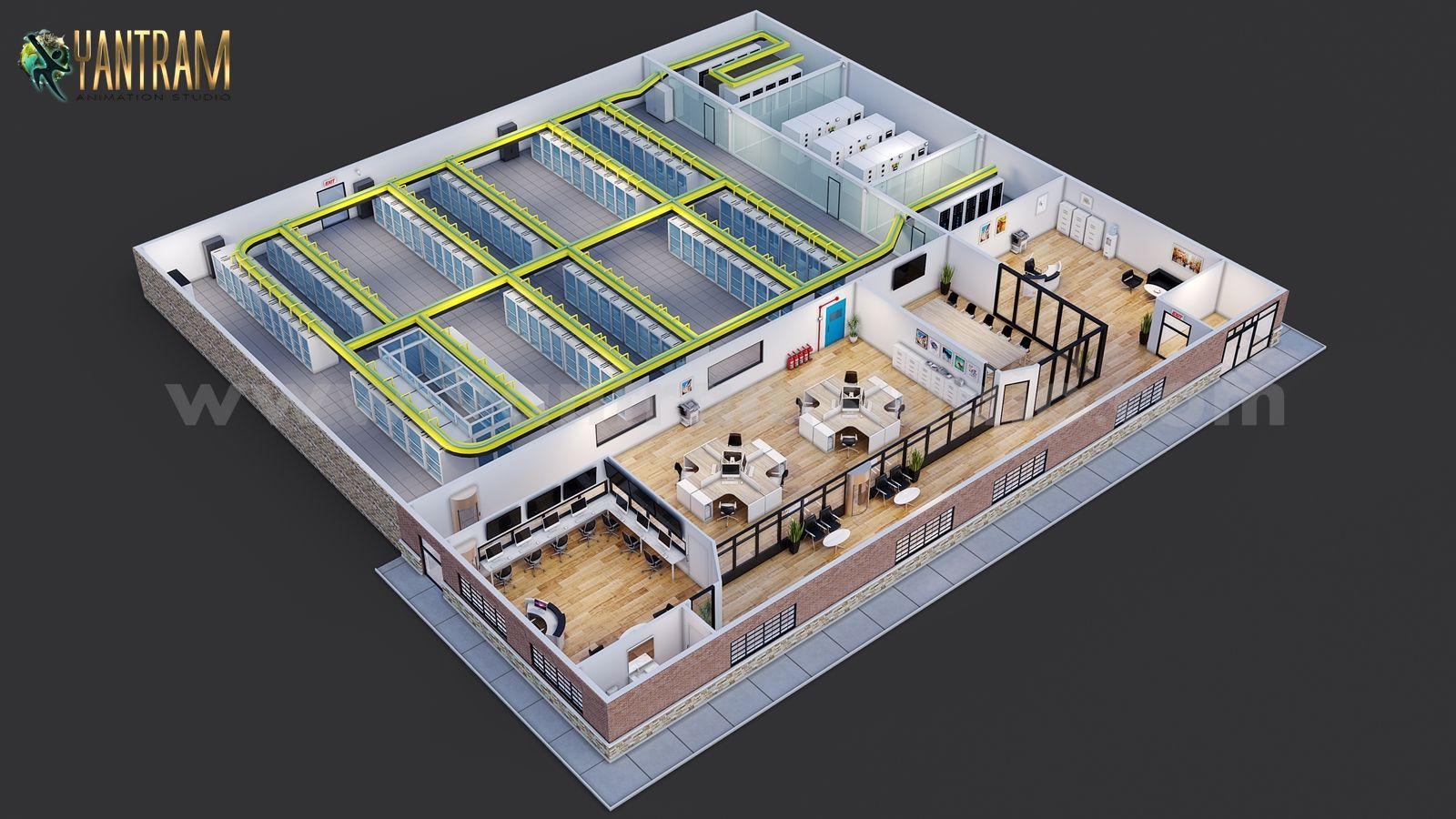Commercial Large Data Storage Room 3d Floor Plan By Architectural Visualisation S Architectural Design Studio Architectural Animation Commercial Building Plans