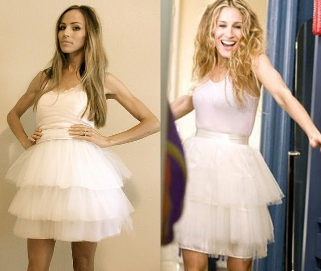 diy carrie bradshaw tiered tutu tulle skirt...i can't sew but I LOVED this look! and i know just the shoes I'd wear with it :)