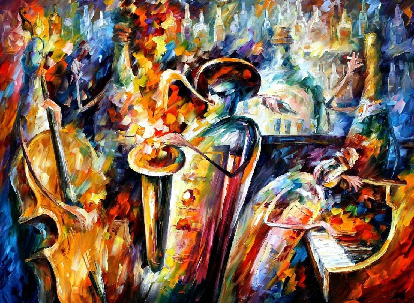 Jazz Oil Painting Bottle 3 Bottles Leonid Afremov