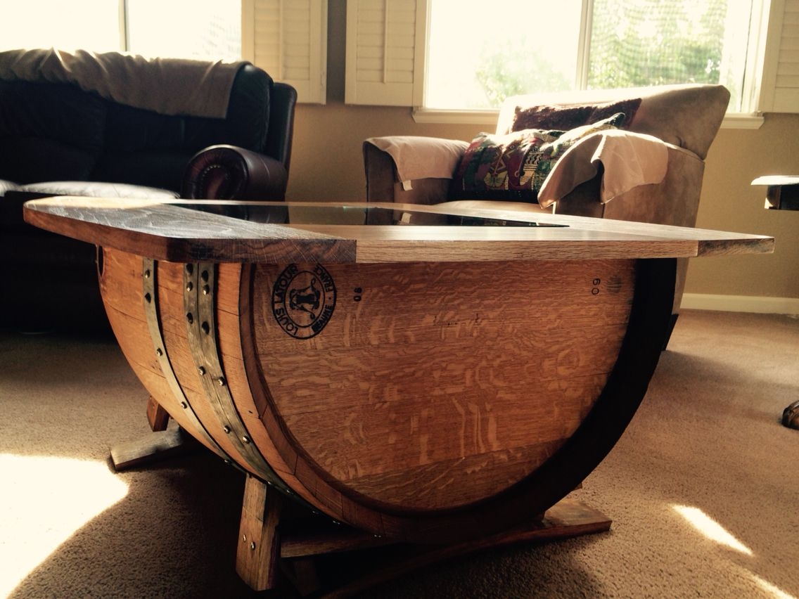 Hand Made Half Barrel Coffee Table With Glass Center Piece