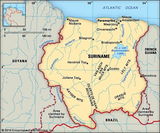 A map of Suriname Latin America Pinterest Latin america and