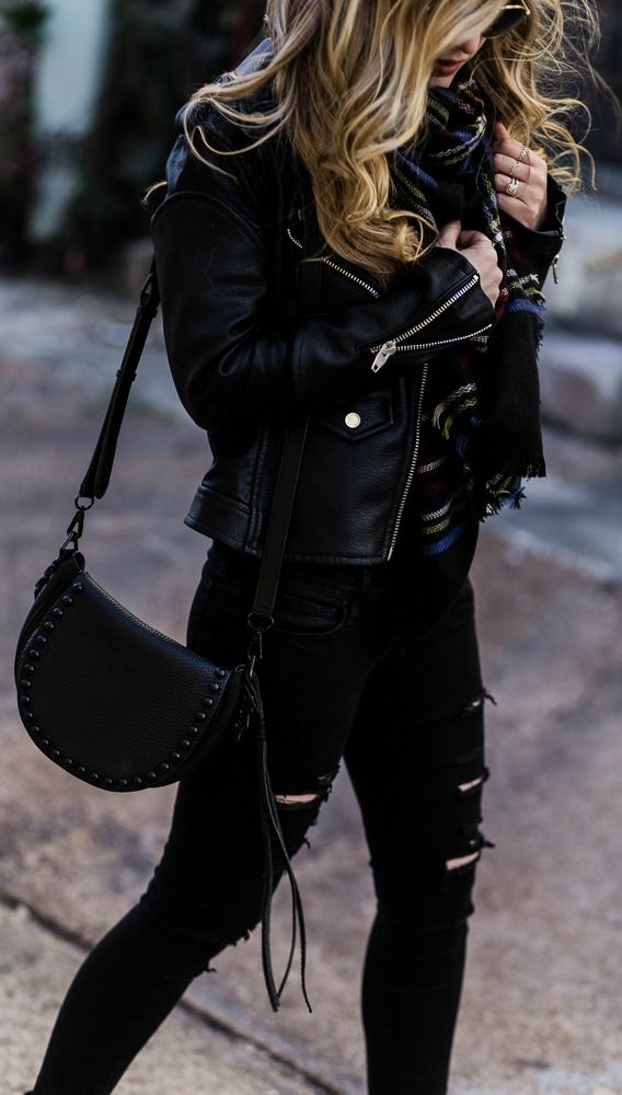 All Black Winter Outfit Black Distressed Jeans Black