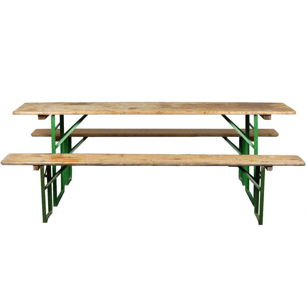 German Beer Hall Table And Matching Benches | FurnitureEtc
