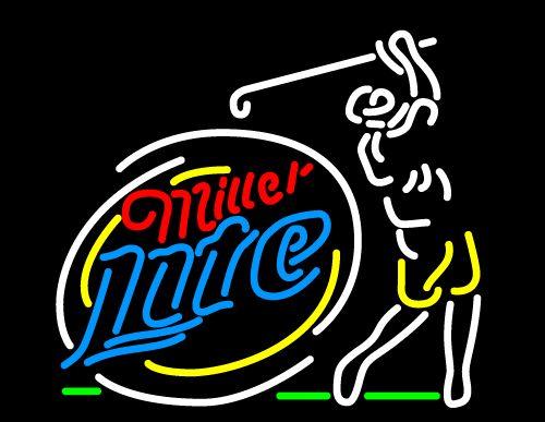 Miller Lite Golfer Neon Beer Sign, Miller Lite Neon Beer