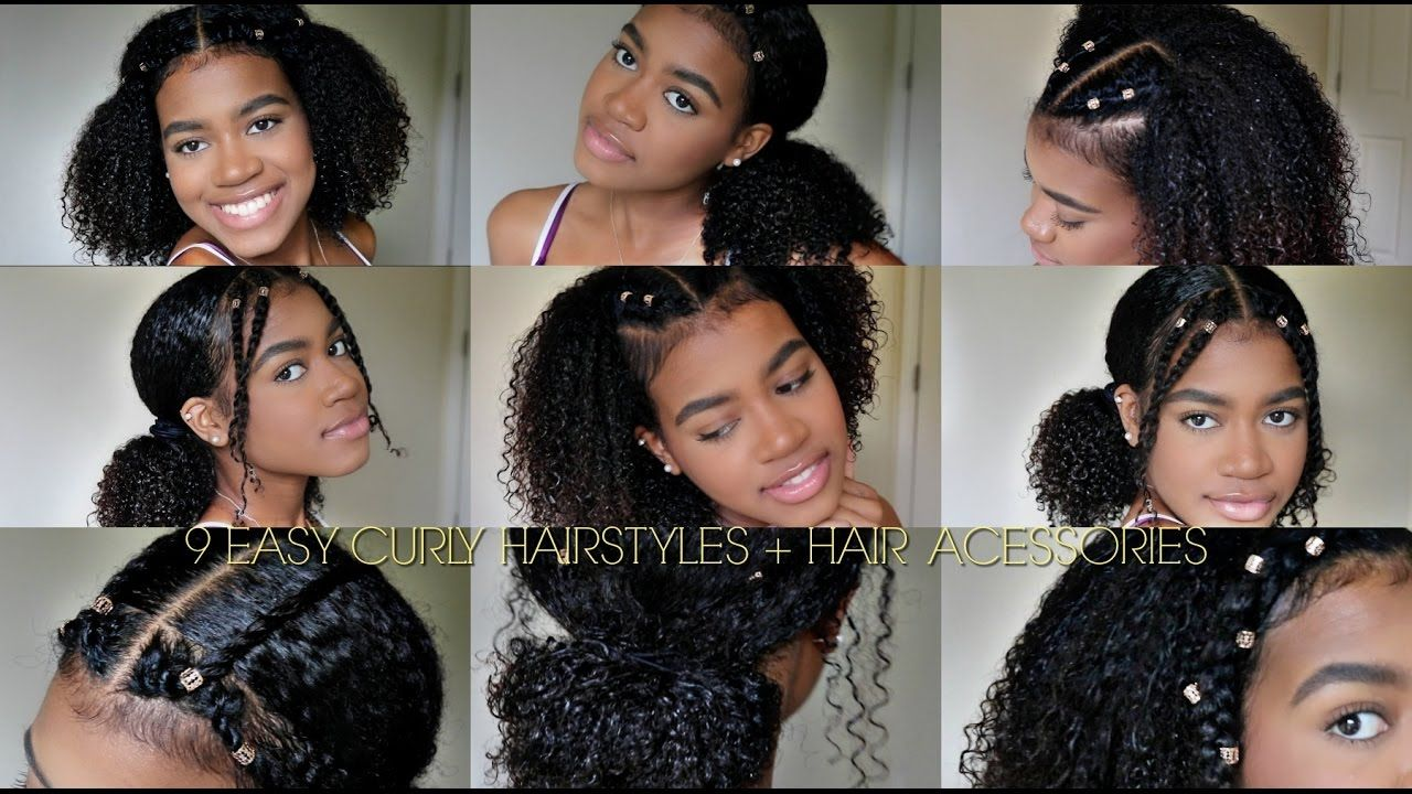 10 EASY CURLY HAIRSTYLES (NATURAL HAIR) + Hair Cuffs  Curly hair