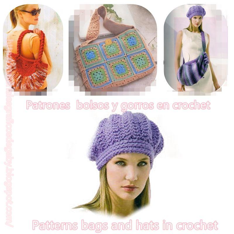 Materiales gráficos Gaby: Patrones bolsos y gorros en crochet ...