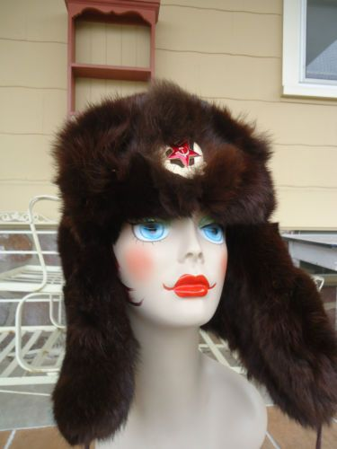 4015173a26c vintage mens hat russian genuine fur trapper ushanika shepka Winter LOOK!