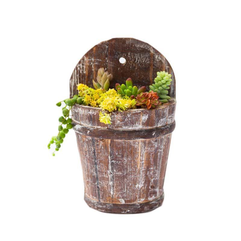 Caioffer Modern Flowerpot Semicircle Shape Garden Wooden Flower Pots