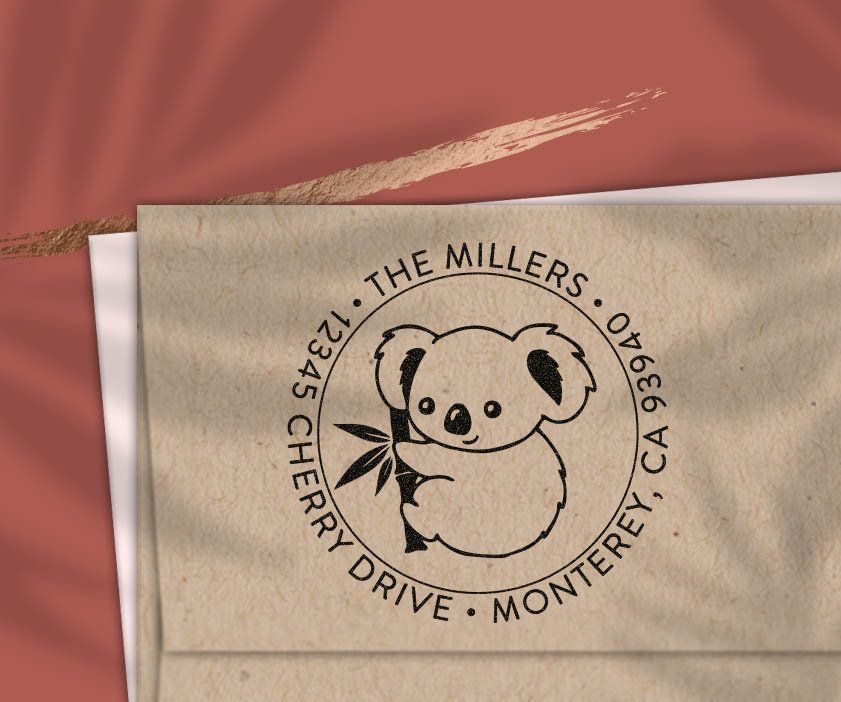 Custom Address Stamp Cute Koala Bear Return Address Stamp