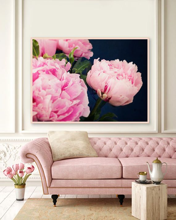 Pink and Navy Blue Peonies Photography, Peony Art Prints, Pink and ...