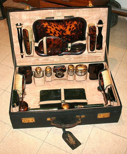 English Antique Vanity Set Suitcase Sterling Silver Glass