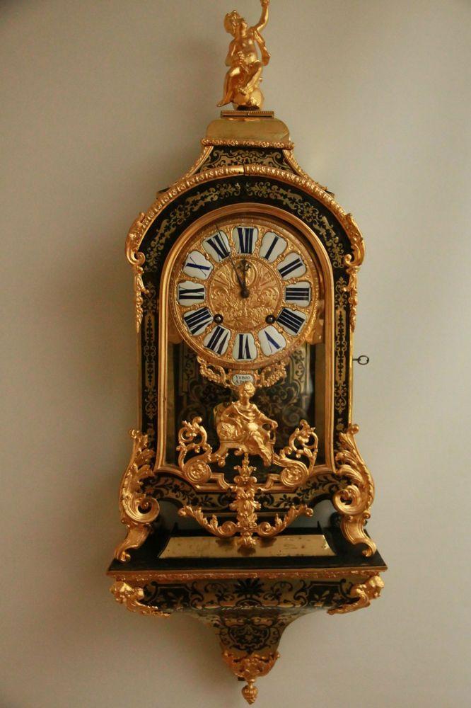 MUSEALE ALTE FRANZÖSISCHE BOULLE CARTELL UHR PENDULE LOUIS XV UM 1780 1. PERIODE