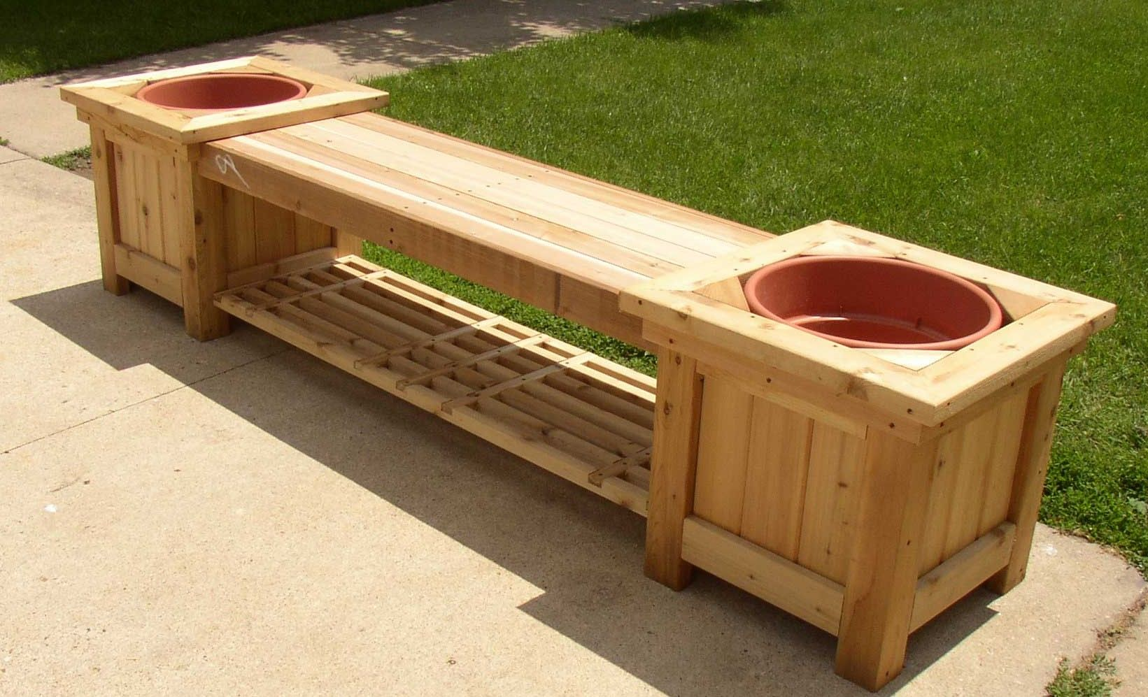 Diy wood planter bench plans wooden pdf build woodworking for Garden planter plans