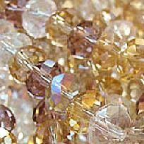 Crystal Faceted Glass Beads Sparkling Rondelle Mixtures 8x5mm 40pc 8in Gold Silver CHAMPAGNE