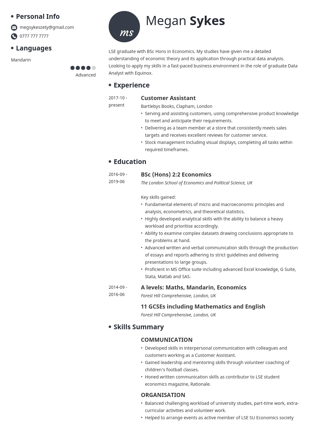 uk graduate cv example template initials in 2020 Cv