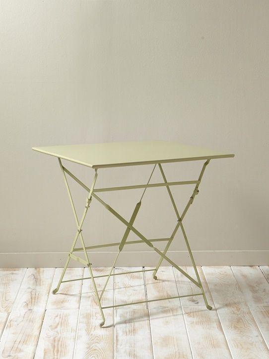 Table de jardin métal - Gris bleu+Tilleul - 4   Déco : inspiration ...