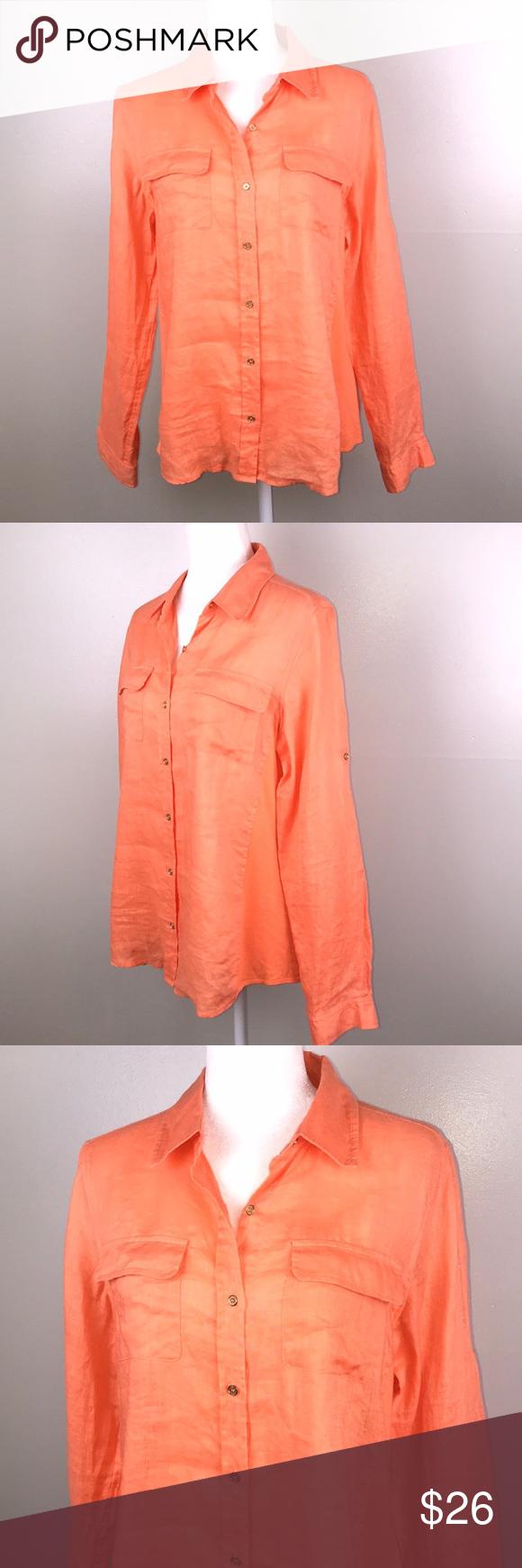 Calvin Klein Linen Button Front Long Sleeve Blouse Clothes Design Calvin Klein Long Sleeve Blouse