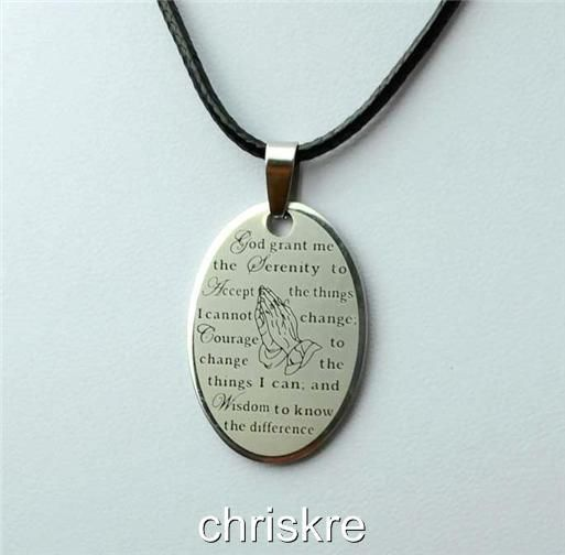 Serenity prayer pendant necklace black cord s steel aa na al anon serenity prayer pendant necklace black cord s steel aa na al anon recovery faith mozeypictures Images