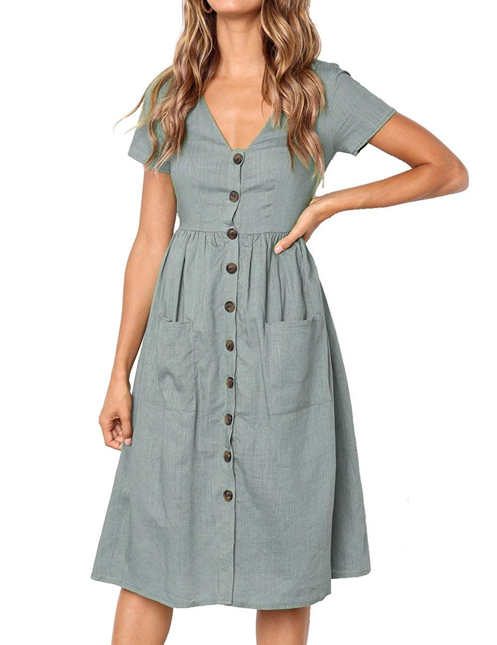 Merokeety Women S Summer Short Sleeve V Neck Button Down Swing Midi Dress With Pockets At Amazon Women Midi Short Sleeve Dress Short Sleeve Dresses Mid Dresses [ 1300 x 1001 Pixel ]