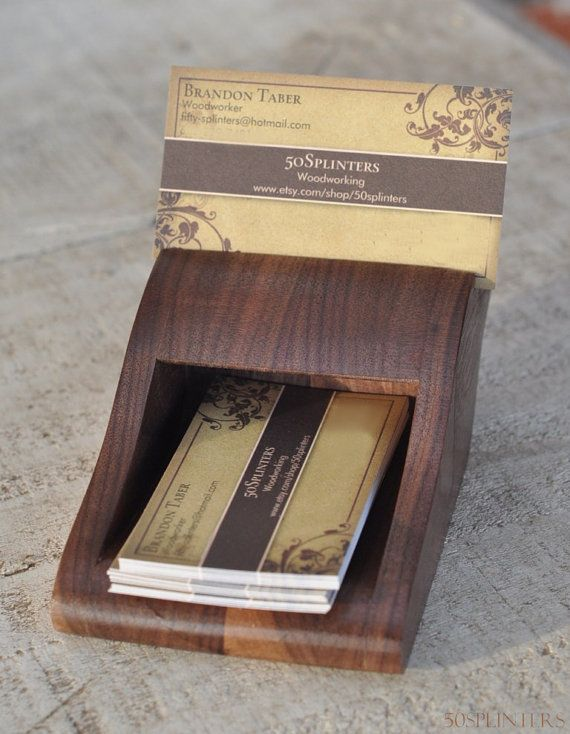 Business Card Holder In Walnut By 50splinters On Etsy 32 00