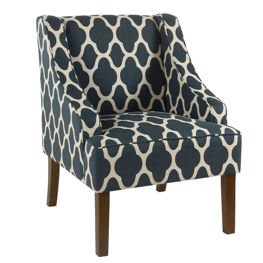 Superieur HomePop Geometric Swoop Arm Accent Chair, Blue