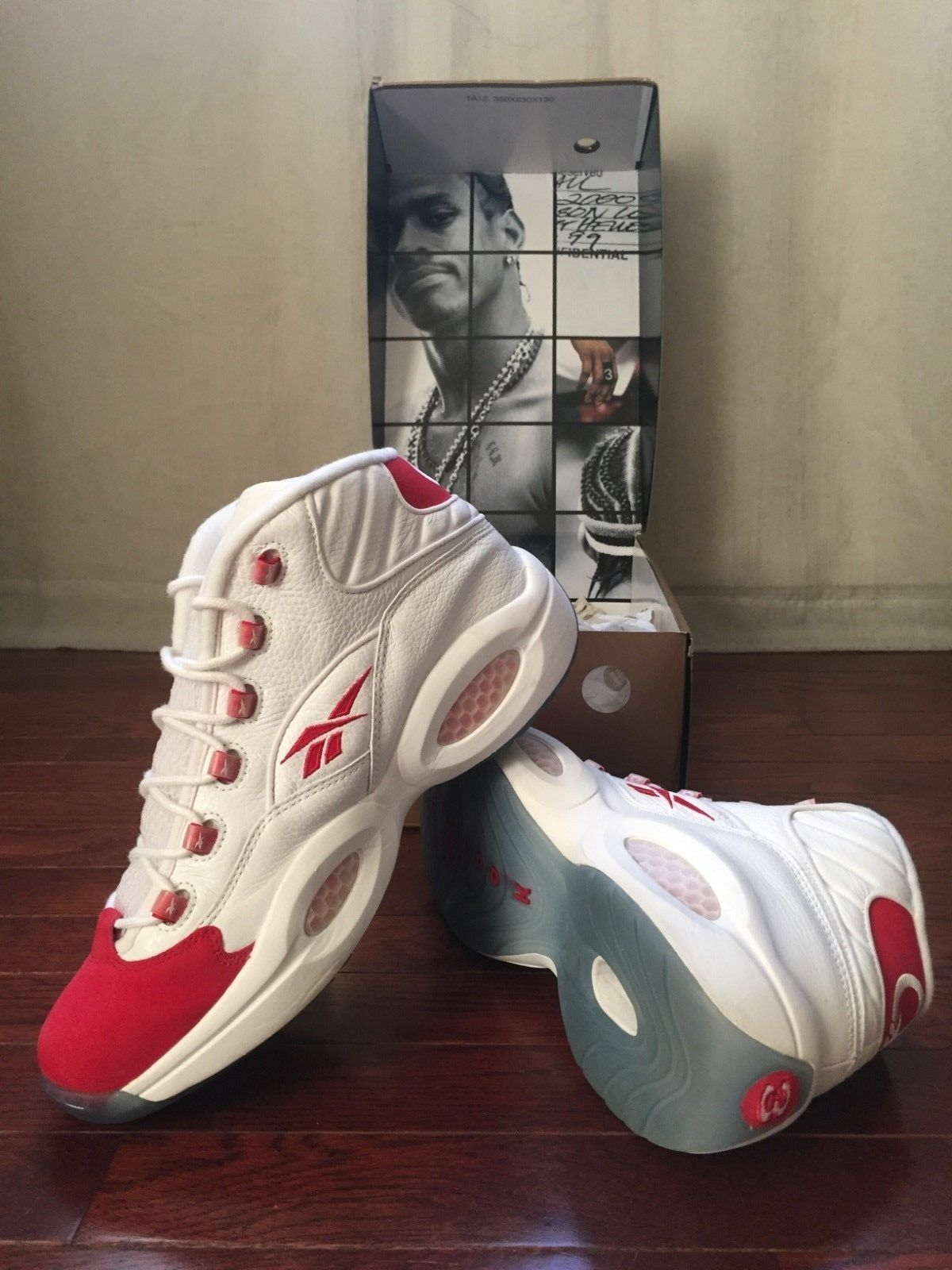 ce7f7361d17 Reebok Iverson Question Mid 10th Anniversary Edition Red Toe Limited  Release 10 Anniversary
