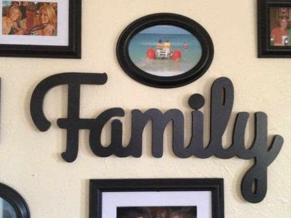 Family sign wood cutting  wall hanging by TheLettery on Etsy, $35.00