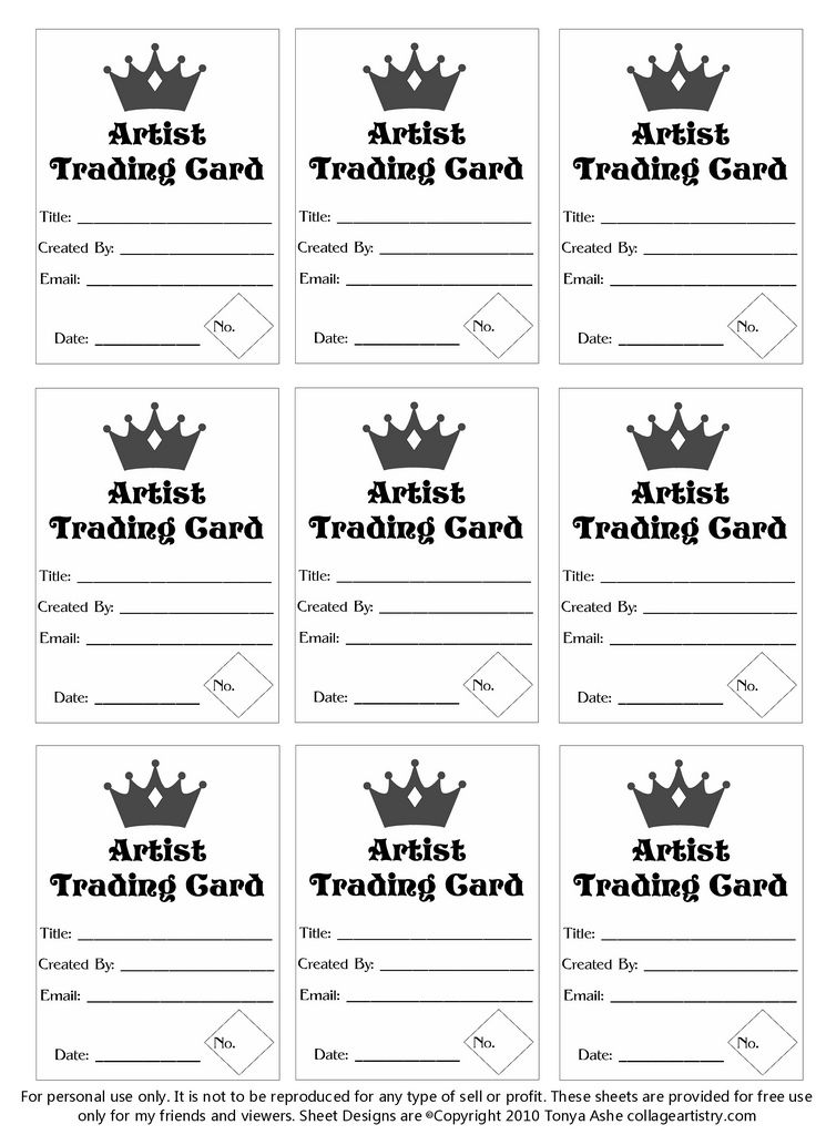 ATC Back Trading Card Template