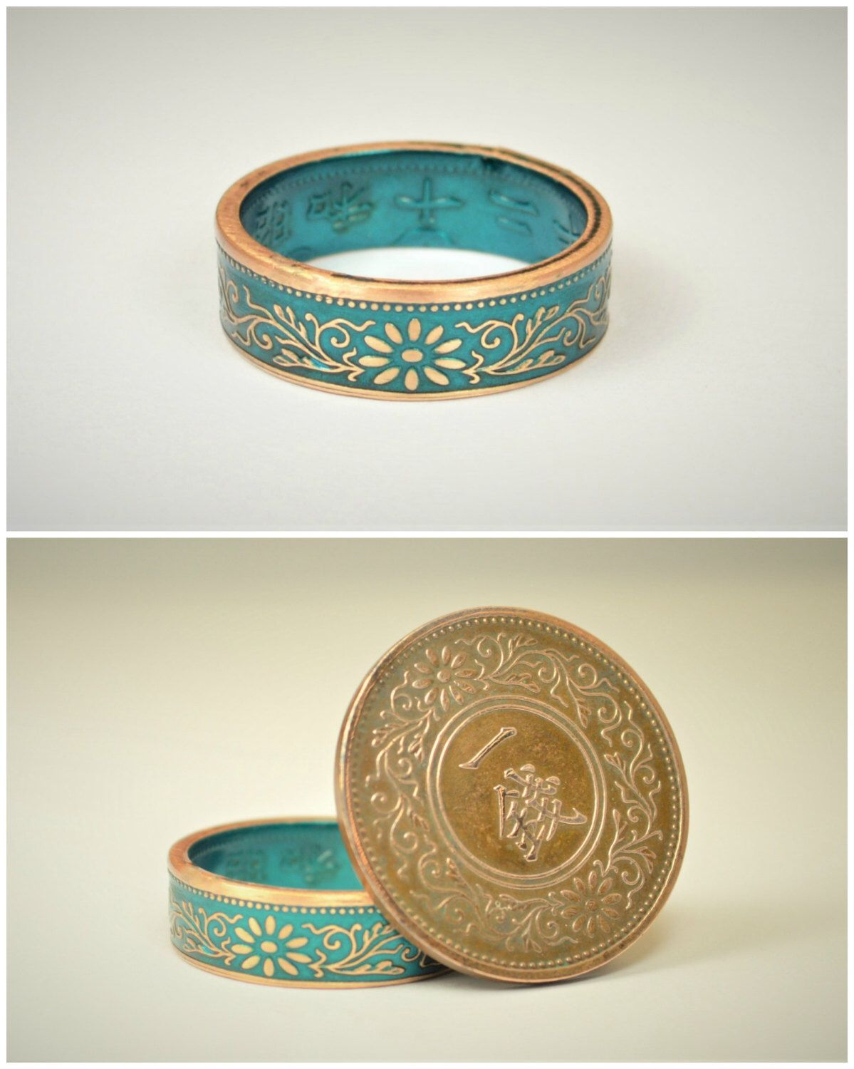 Coin Ring, Turquoise Ring, Japanese Ring, Bronze Ring, Japanese Coin, Japanese Jewelry, Coin Rings, Japanese, Coin Art, Japanese Coin Ring by Alaridesign on Etsy https://www.etsy.com/uk/listing/512498405/coin-ring-turquoise-ring-japanese-ring