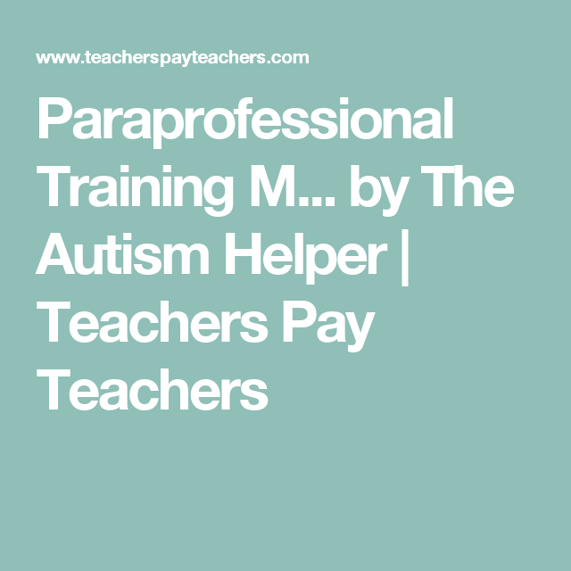 Paraprofessional Training Manual