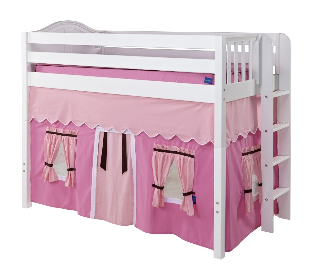Light pink curtains for kids - Mid Height Loft Beds Maxtrix Hot Pink Light Pink Brown Curtain For Mid