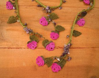 Beadwork necklace, crochet beaded lariat necklace, oya necklace