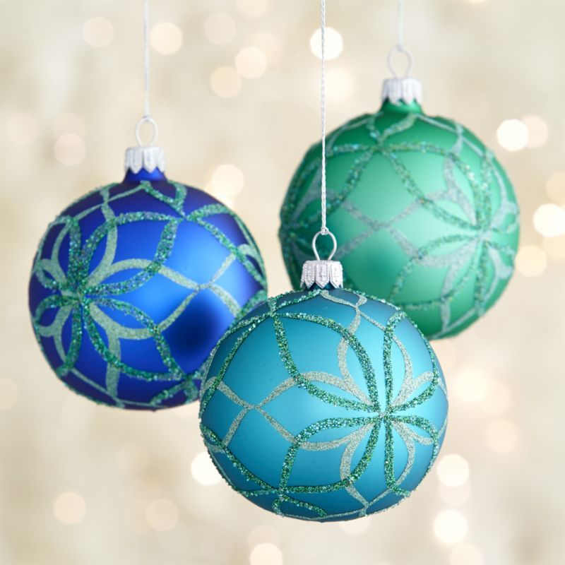 Glitter Blue Bloom Ball Ornament Crate And Barrel With Images Glass Ball Ornaments Crate And Barrel Ornaments