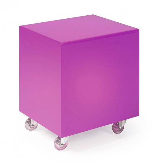 Cubo de luz con ruedas en acrílico lila