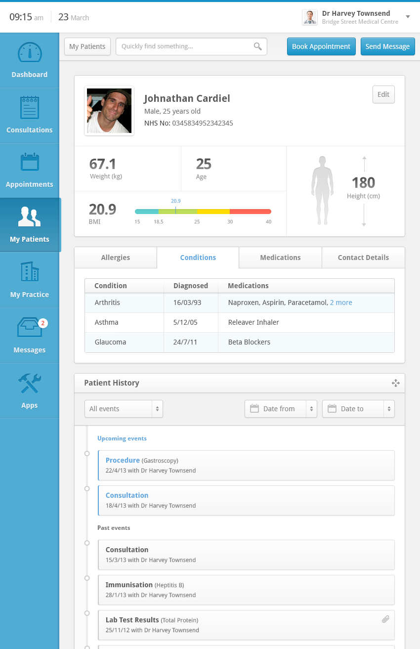 Clinical Dashboard - Patient Record by Andrew Lucas