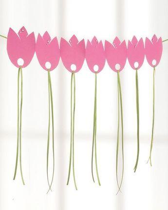 tulpen girlande aus papier diy pinterest tulpe. Black Bedroom Furniture Sets. Home Design Ideas