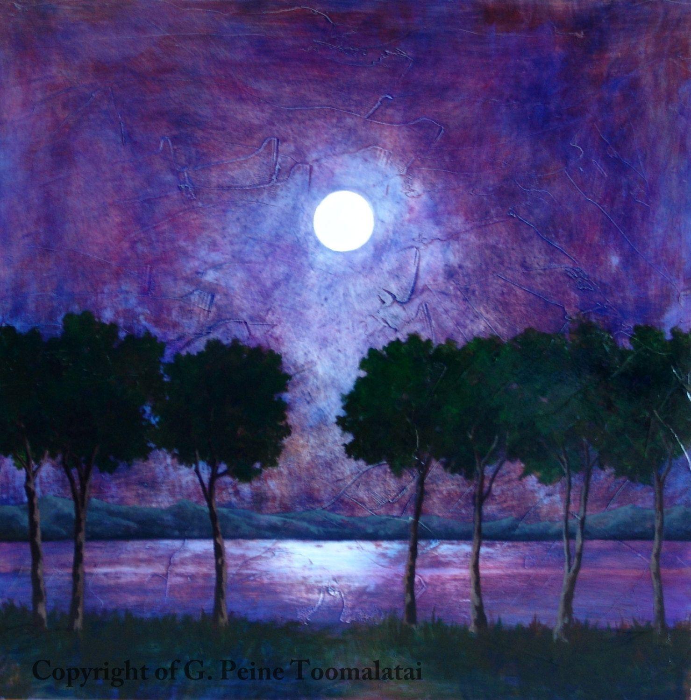 Moon Landscape Painting Moon Original Oil Painting Tree Night Painting Lake Painting Blue Purple Oil Paint Landscape Paintings Oil Painting Trees Lake Painting