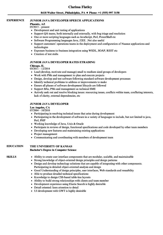 Junior Java Developer Positions Job Resume Samples Medical Assistant Resume Development
