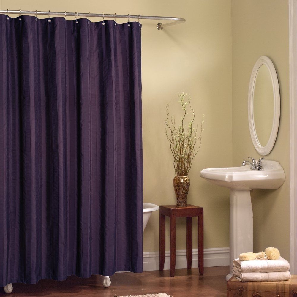 Solid Purple Purple Shower Curtain Extra Long Shower Curtain