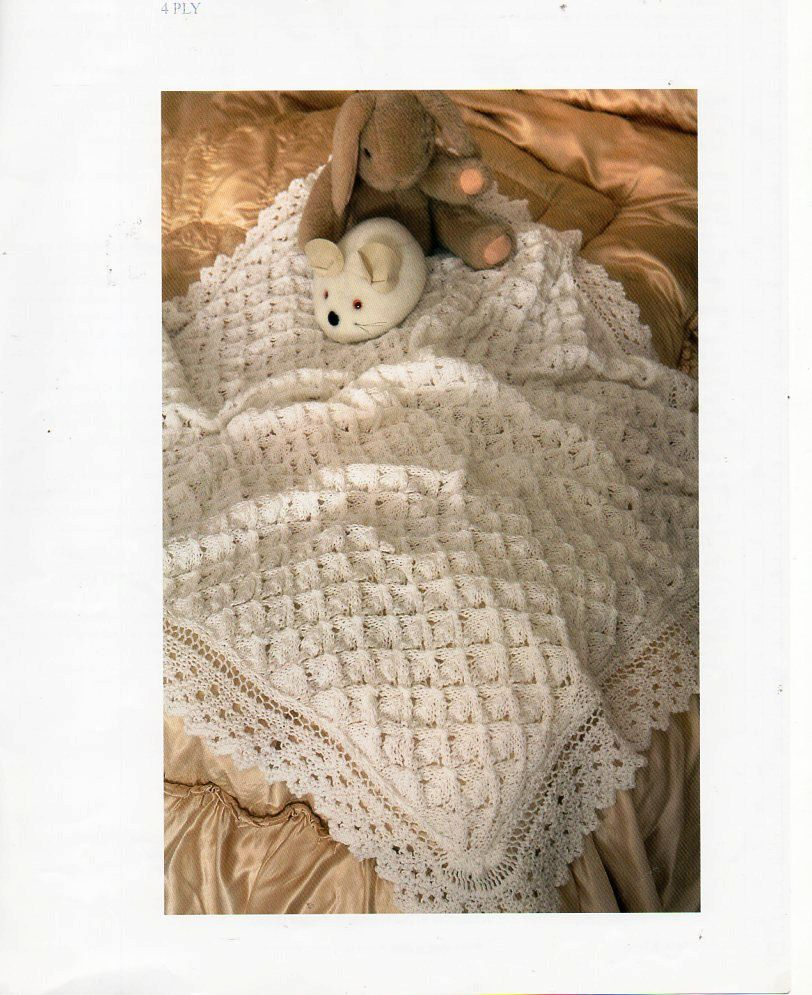 f7aca097d Vintage baby 4ply shawl knitting pattern pdf Christening lacy square ...