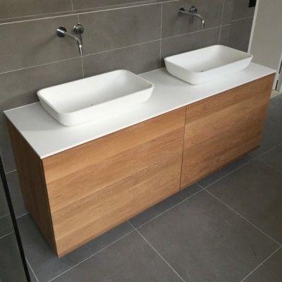 Caisson meuble sous-vasque Fjord chêne naturel l119xH615xP45cm, 4 - meuble salle de bain en chene massif