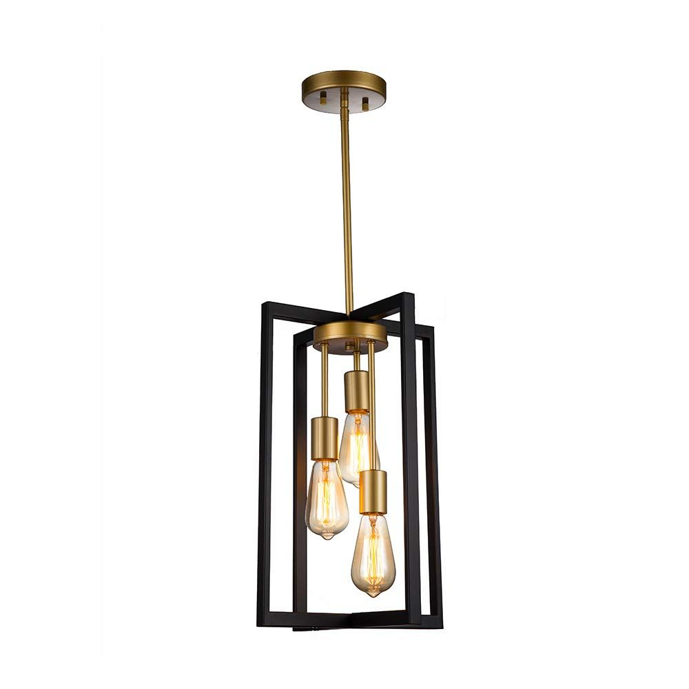 Jinzo 3 Light Rectangle Chandelier Black And Gold Farmhouse Pendant Lighting With In 2020 Hanging Pendant Light Fixtures Pendant Light Fixtures Hanging Pendant Lights
