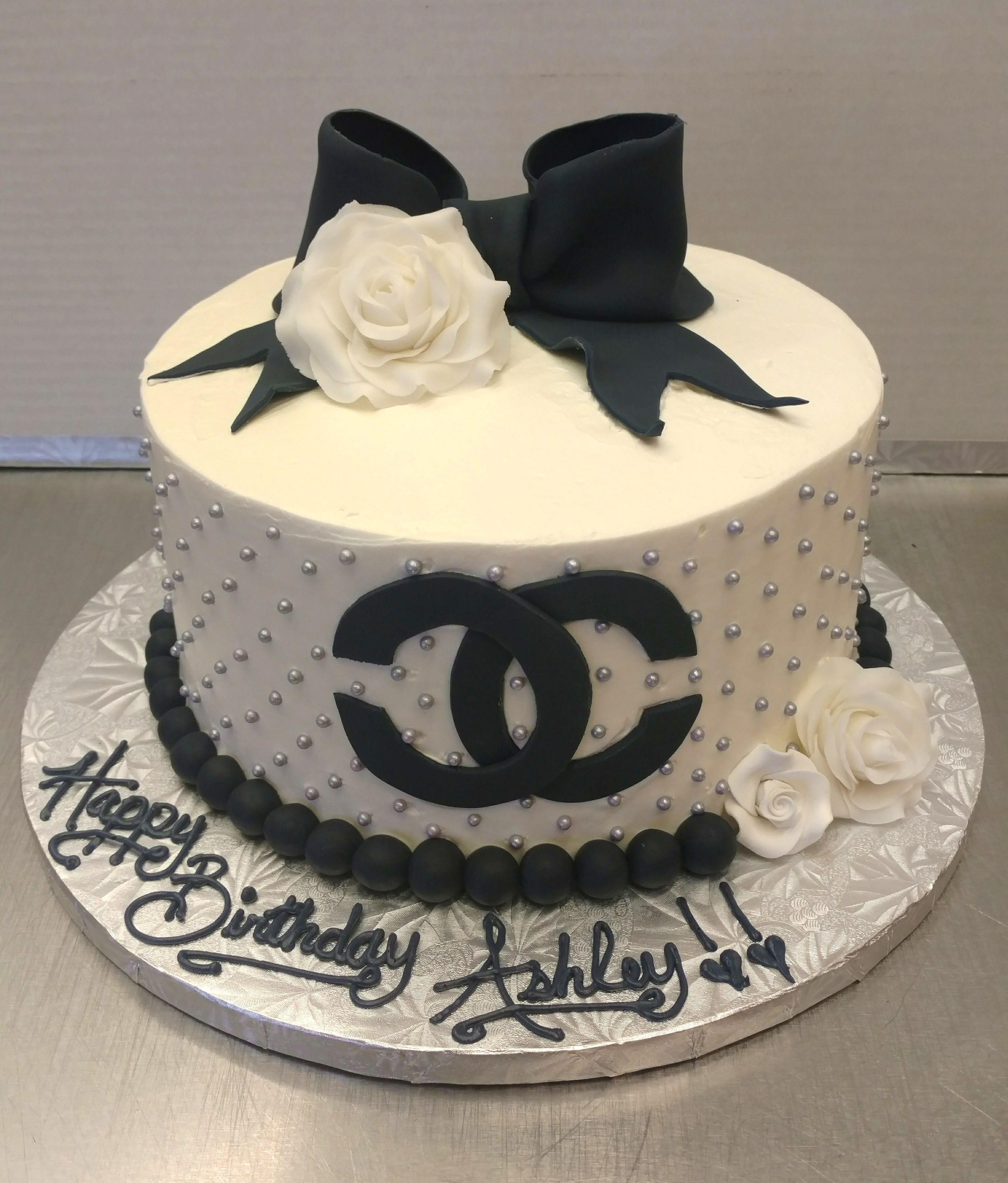 Pleasant Classic Chanel Style Birthday Cake From The European Bakery Funny Birthday Cards Online Fluifree Goldxyz