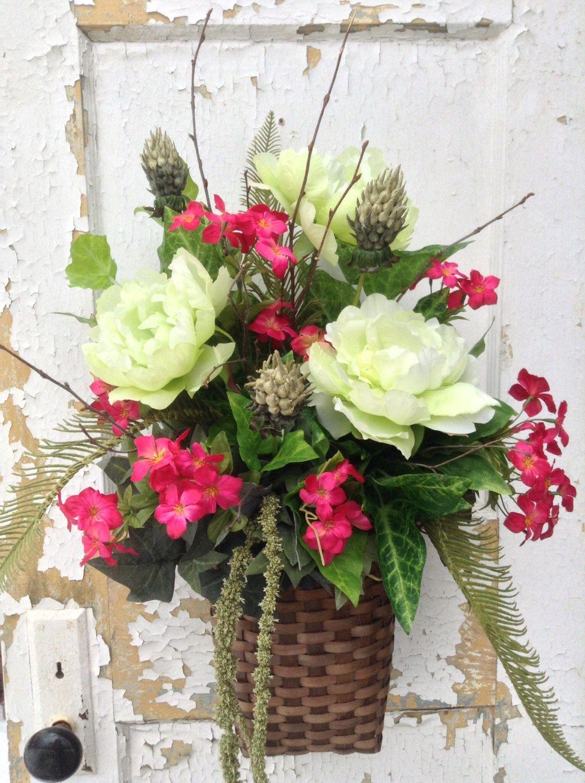 Summer Wreath Spring Wreath Summer Wall Basket Rustic