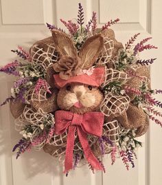 Easter Wreath, Burlap Deco Mesh,Deco Mesh, Natural Bunny Face, Bunny Head